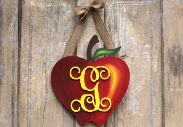 Apple Monogram Wreath   Back to School Wreath   CraftCuts.com