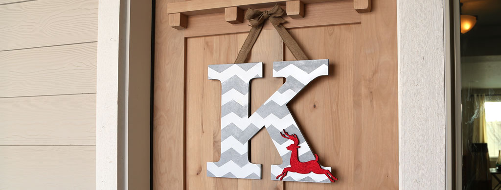 Chevron Reindeer Monogram Wreath | CraftCuts.com