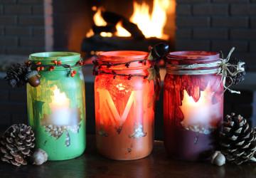 Maple Leaf Mason Jar Candles