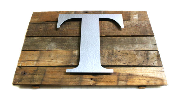 create a rustic wall plaque using metal craft letters