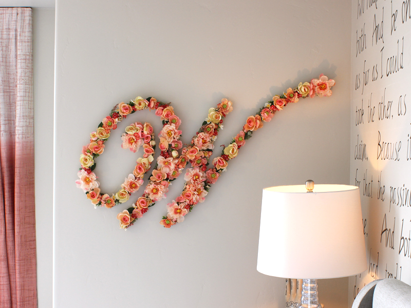 Letters covered in flowers