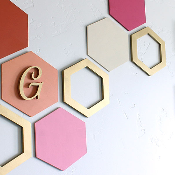 How to create hexagon wall art - Wall hanging ideas for bedrooms ...
