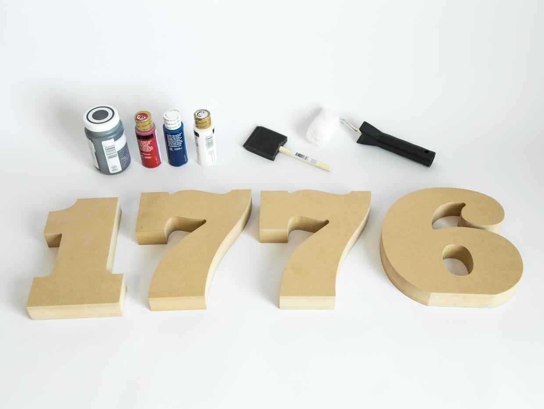Rustic American Flag 1776 Wood Numbers - Craftcuts.com