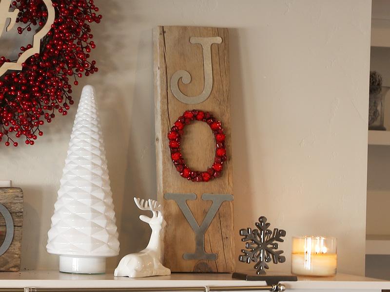 Reclaimed Wood Jingle Bell JOY Sign