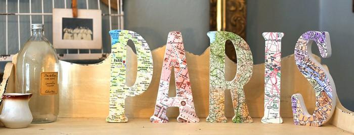 Decorar con mapas y letras
