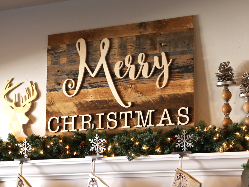 Reclaimed Wood Merry Christmas Sign Craftcuts Com