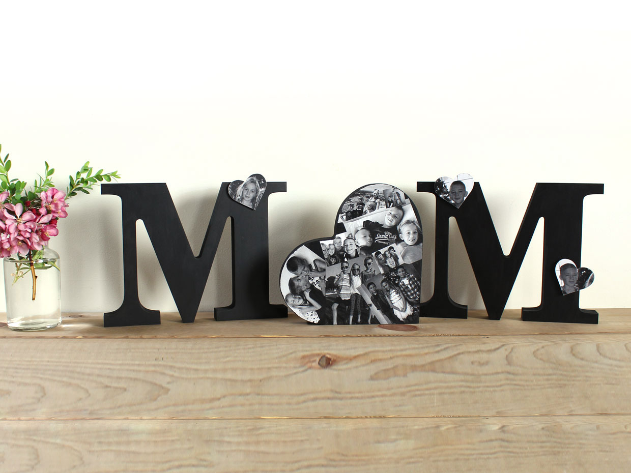 Mom Standing Letters With Collage Heart  CraftcutsCom