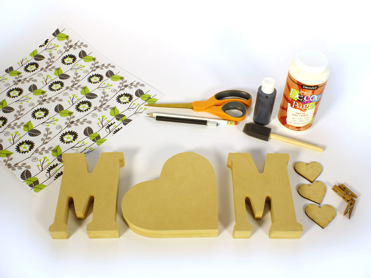 Mom Standing Wood Letters Photo Holder  CraftcutsCom