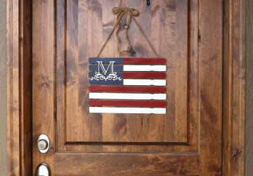 Monogrammed Paint Stick Flag