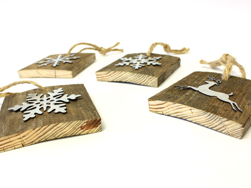 create rustic wooden christmas tree ornaments reclaimed pallet wood ornaments craftcutscom