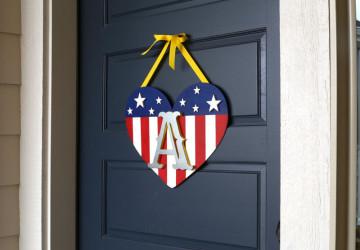 Patriotic Monogram Door Hanger   CraftCuts.com