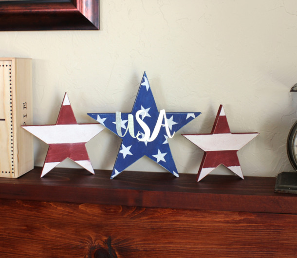 Patriotic Standing Star Decorations Usa Letters Diy