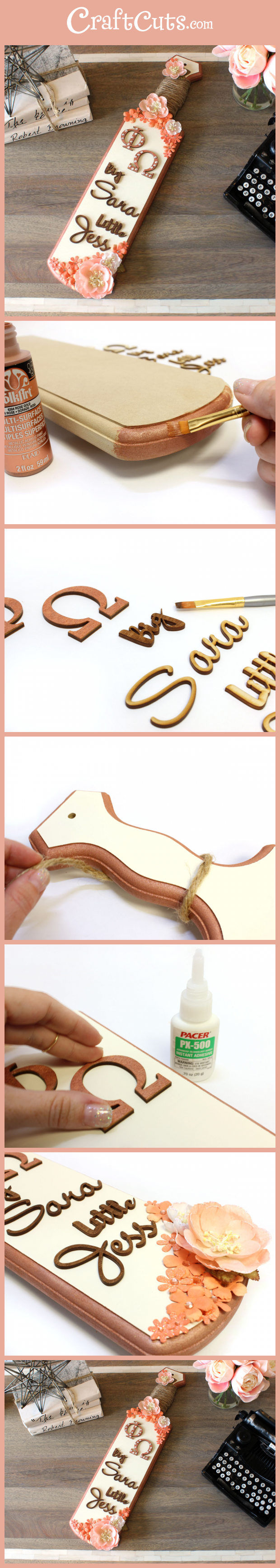 How To Decorate A Greek Sorority Paddle Craftcuts Com