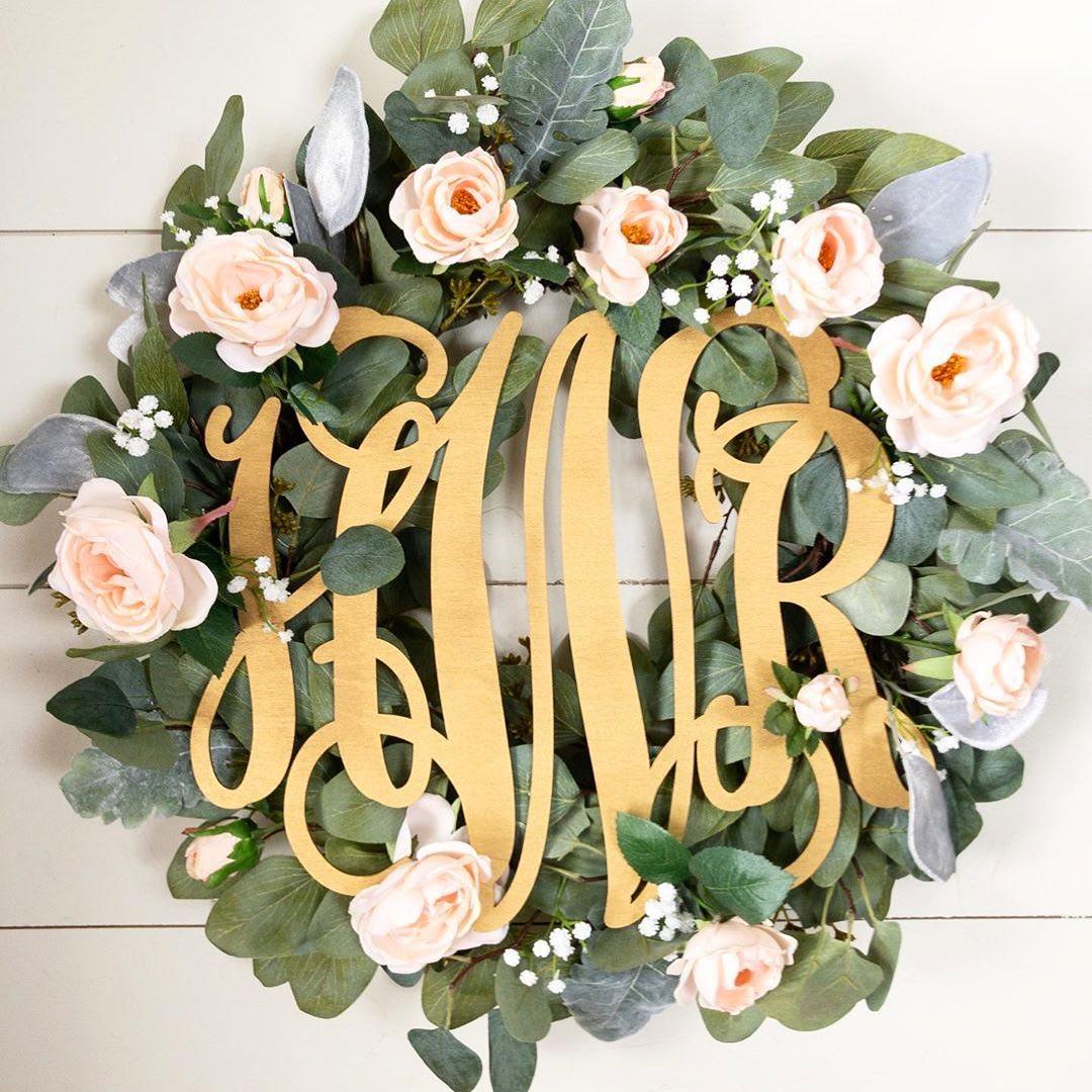 Door monogram Letter wreath Year round wreath Vine monogram Initial wreath Monogram wreath Monogram door decor Black wreath