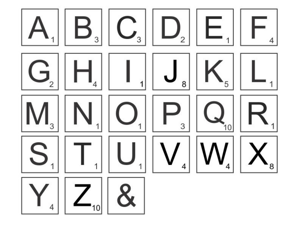 This is an image of Universal Free Printable Letter Tiles